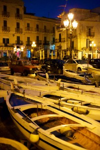 Lipari Night Scene with Boats