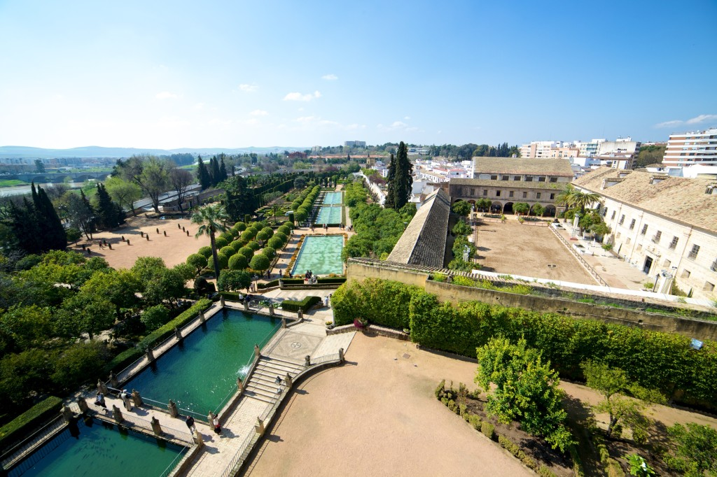 The view of the Jardines del Alcazar from the top of the entrance tower.