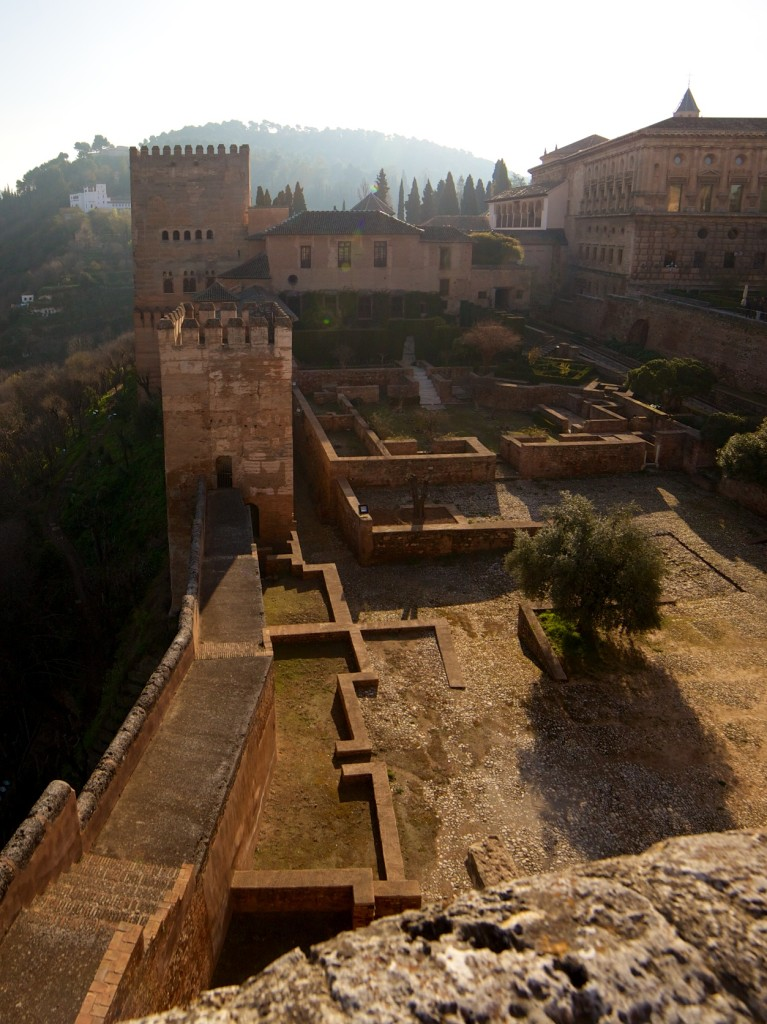 Early sun gives the Alhambra a golden glow