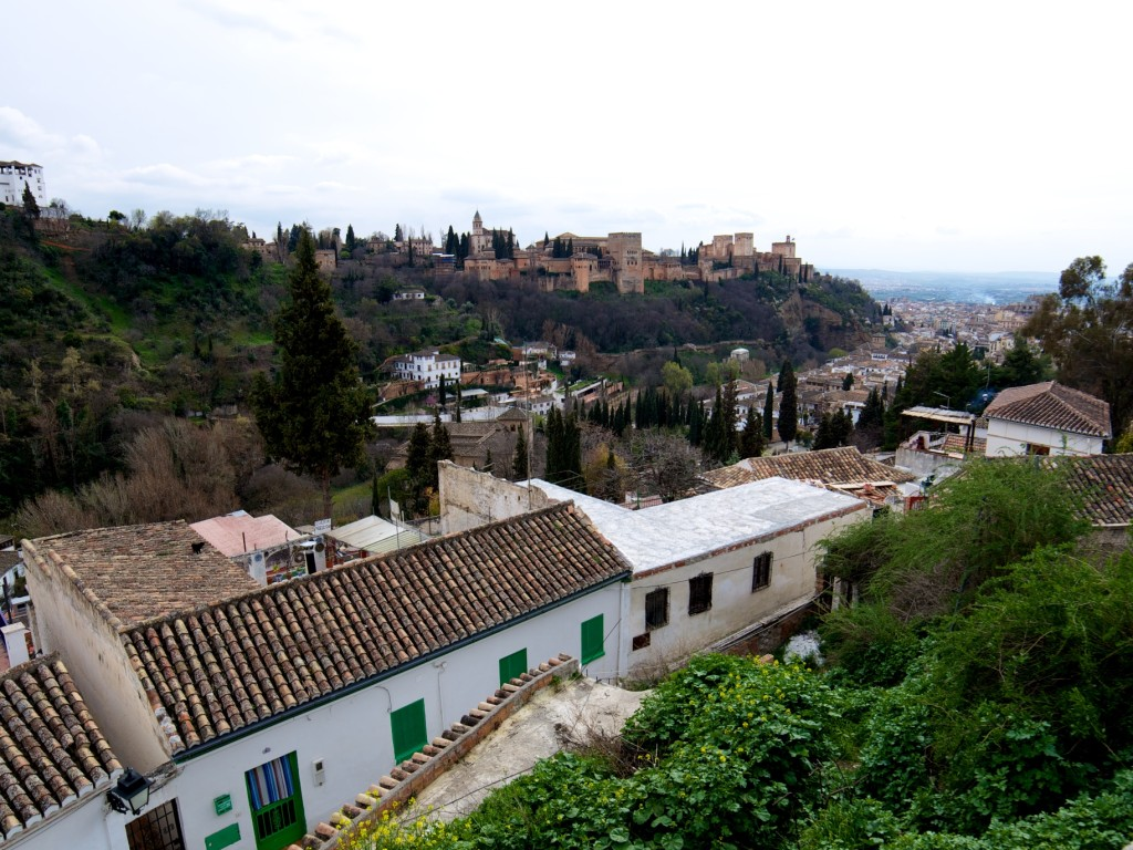 The view of the Alhambra from the heights of Sacremonte.